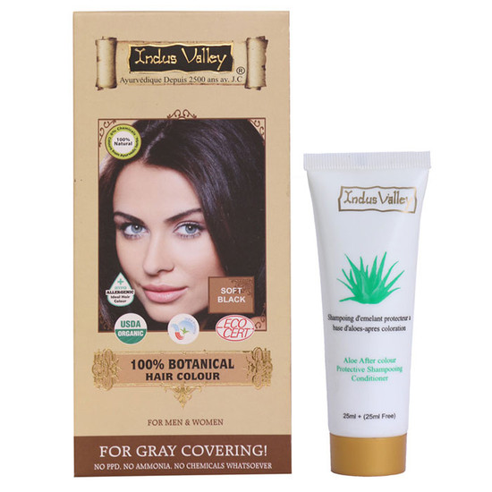 Indus Valley 100% Botanical Hair Colour Soft Black (182 G) & Get Colour Protection Shampoo (50 Ml) Free