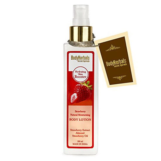 BodyHerbals Strawberry Natural Moisturising Body Lotion - Hydrating Skin Booster (200 Ml)