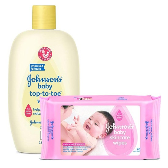Johnson And Johnson Top-to-toe Wash (200 Ml)+Free Johnsons Baby Skincare Wipes 20s