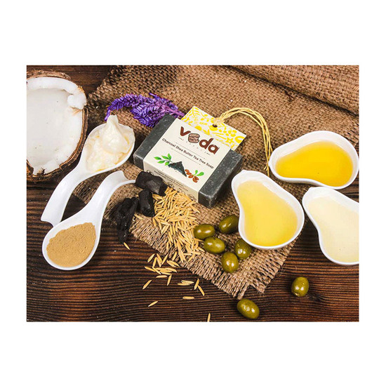 Veda Essence Charcoal Shea Butter Tea Tree Soap (125 G)