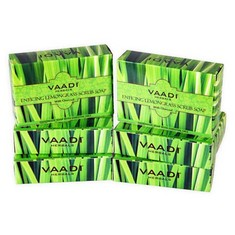 Vaadi Herbals Enticing Lemongrass Scrub Soap Super Value Pack Of 6 (5 + 1 Free) (75 g X 6)