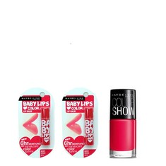 Maybelline Baby Lips Berry Crush (4.5 G) + Maybelline Baby Lips Berry Crush (4.5 G) + Free Maybelline Color Show Nail Enamel - Hooked On Pink (6 Ml)