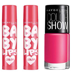 Maybelline Baby Lips Rose Addict (4 G) + Maybelline Baby Lips Rose Addict (4 G) + Free Maybelline Color Show Nail Enamel - Hooked On Pink (6 Ml)