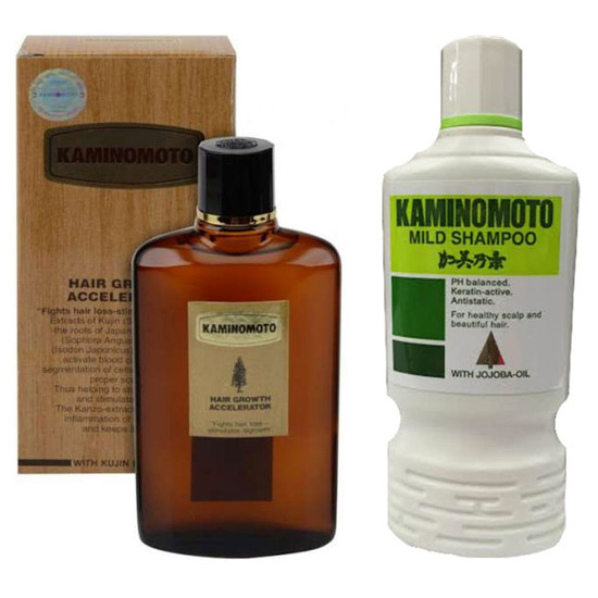 Kaminomoto Hair Growth Accelerator (150 Ml) + Kaminomoto Mild Shampoo (200 Ml)